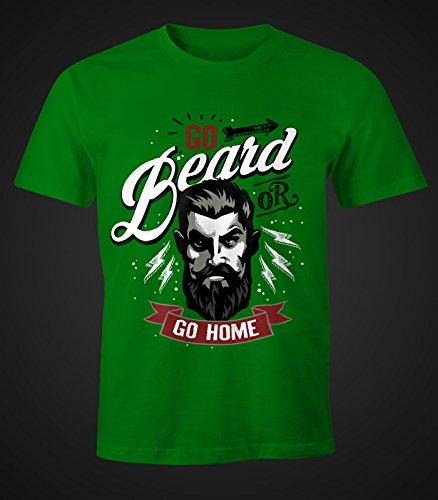 Herren T-Shirt - Go Beard or Go Home Bart Barber Shop Barbier Hipster Bartträger Mustache - Moonworks Grün