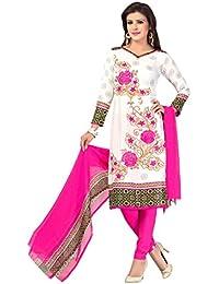 A K Designer Women's Chiffon Dress Material (Mehak9011_Free Size_White)
