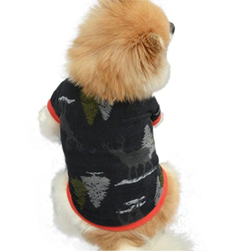 Ninasill ღ ღ Weihnachten Pet Puppy Deer Baum Warm Pullover Hochwertigen Bestickt Kleidung Casual X-Small - Macht Ein Baum Kostüm Halloween