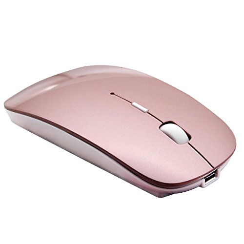 Schlanke wiederaufladbare Bluetooth Maus - Tsmine Cordless wiederaufladbare drahtlose optische Maus für Notebook, PC, Laptop, Windows / Android Tablet (nicht für iPhone oder iPad) -Roségold
