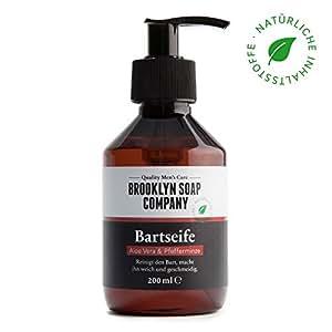 Shampoing à barbe, savon à barbe Beard Wash 200 ml ✔ nettoyage et entretien barbe - cosmétiques naturels de la BROOKLYN SOAP COMPANY ®✔ l'entretien barbe naturel pour l'homme moderne et idée cadeau