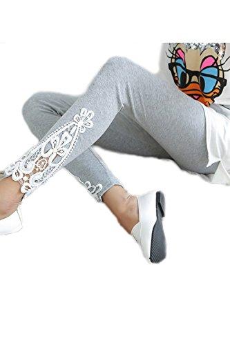Frauen Elastische Dreieck Spitzen Sport Leggings Grey