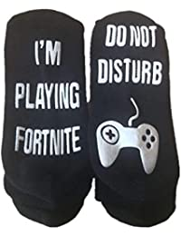 Yaogroo Calcetines de algodón divertidos en el tobillo: No molestar, estoy jugando a Fortnite