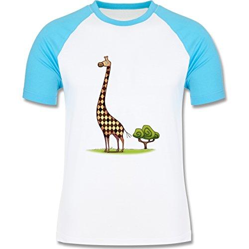 Wildnis - Lange Giraffe - zweifarbiges Baseballshirt für Männer Weiß/Türkis