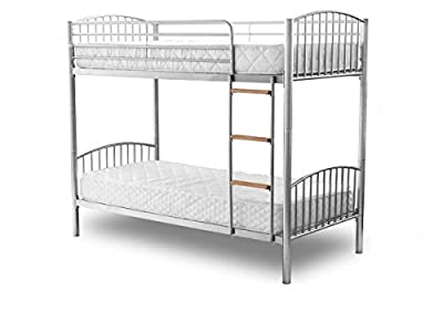 DuraTribe Twin Sleeper Metal Bunk Bed Single Size 3FT in Silver Colour - Splits into 2 Single Beds - EN747 Certified produced by Stickbase Ltd - quick delivery from UK.