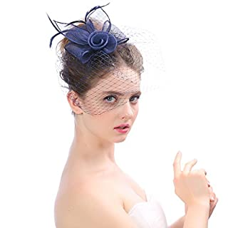 Fascinator Headwear Hats For Women Feather Cocktail Party Hats Bridal Kentucky Derby Headband,Navy