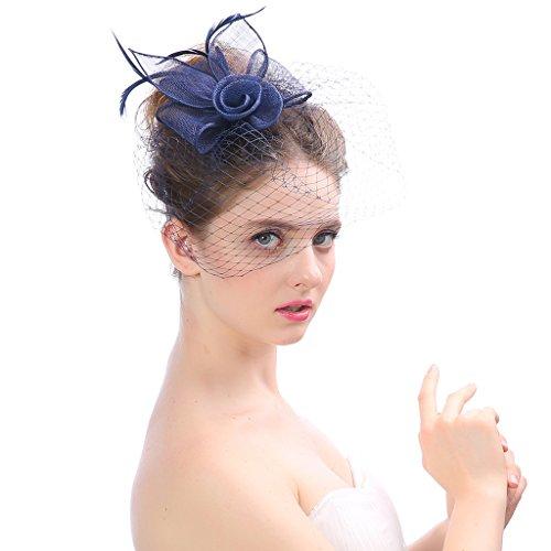 MNII Fascinator Headwear Hüte Für Frauen Feder Derby Stirnband Cocktail Party Hüte Bridal Kentucky,Darkblue
