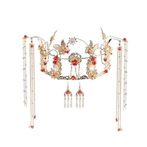 Lnyy BrautTiara Kostüm mit Fransen Phoenix Haar-Accessoires