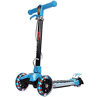 Scooter Tretroller Roller Kinderroller Cityroller Kickroller Kickscooter klappbar Big Wheel höhenverstellbar mit 3 blinkenden Räder und Musik Farbwahl (Blau)