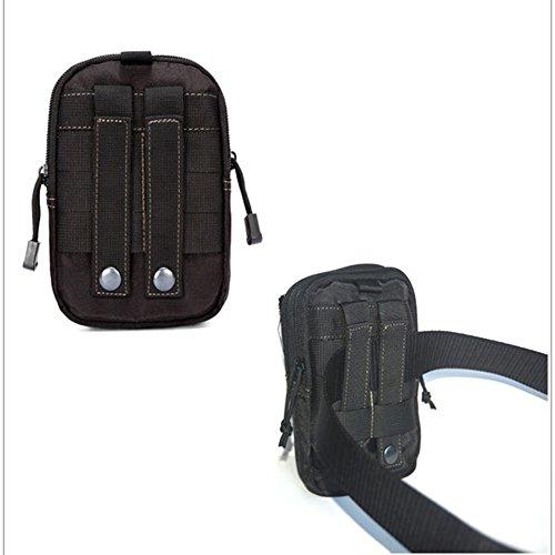 aiyuda Outdoor Tactical MOLLE Tasche EDC Utility Gadget Gürtel Taille Tasche mit Handy Holster Halter schwarz - schwarz