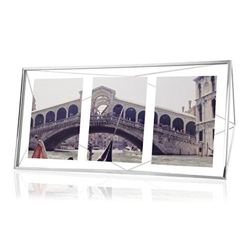 Umbra Prisma Bilderrahmen Collage 13 x 18 cm – Wand- und Tisch Multi-Fotorahmen für 3 Bilder, Fotos, Kunstdrucke, Illustrationen, Graphiken und Mehr, Metall/Glas, Silber (Schlafzimmer Kommode Chrome)