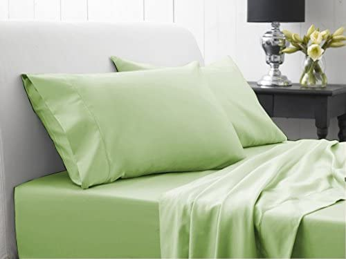 Dreamz lenzuola Super Count morbido 400 Thread Count Super elegante finitura con angoli (profonda tasca  53,3 cm) Euro doppio Ikea, Coloreeee  verde salvia solido, fili, 100% cotone extra tasca profonda lenzuolo sotto 1bde45