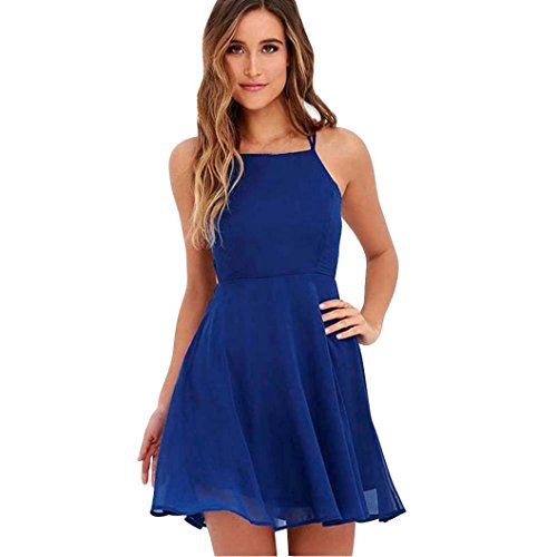 BZLine® Frauen-Party-Cocktail-Backless-Bandage Ärmelloses Minikleid Beach Kleid Blau