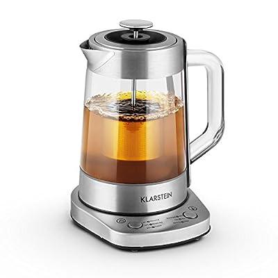 Klarstein Assam Express Bouilloire électrique design Théière transparente (1,5 litre, 1500W, passoire à thé incluse, poignée Cool-Touch) - acier et verre