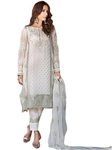 Missethnik indian dresses for women Indian Bollywood Designer Anarkali Salwar Suit white...