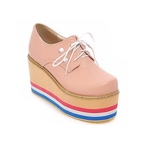 AgooLar Damen Pu Leder Hoher Absatz Rund Schließen Zehe Rein Schnüren Pumps Schuhe Pink