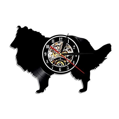 (Vinyl Clock Shepherd Dog Theme Art Uhr 7 Farben ändern mit Fernbedienung Neujahrsgeschenk)