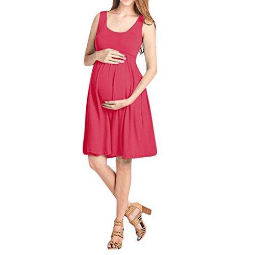 OHQ Robe De Maternité sans Manches Taille Haute Rose Hot Pink Blue Fashion Womens Pregnants O-Cou Allaitement Solide Photographie Mariage Longue Grande Soiree Courte (Rose Vif, S)