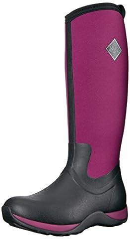 Muck Boots Arctic Adventure, Women Warm Lining Rain Boots, Black (Black/Maroon), 6 UK (39/40 EU)