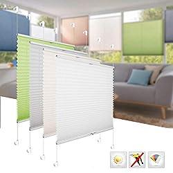 BelleMax Plissee ohne Bohren Jalousie klemmfix Rollo Klemmrollo Sichtschutz und Sonnenschutz für Fenster Grau 50x130 cm(BxH)