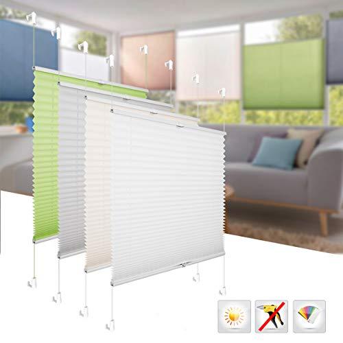 BelleMax Plissee 105x130 cm Grau Jalousie ohne Bohren Rollo Sonnenschutz leicht zu Montieren und Verspannt