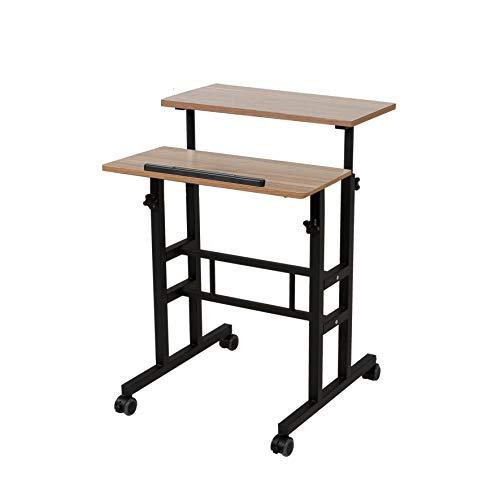 S001BFDT Stand-Up-Schreibtisch mit Teppichrädern, 5,1 cm breit, höhenverstellbar, mit Steh- und Sitzgelegenheit, 2 Modi 3.0 Edition, schwarzer Rahmen mit dunkler Maserung