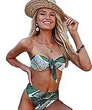 JFan Mujer Conjunto De Bikini Traje de Baño 2019 Push up Bikini Floral Monokini Tropical Hojas Verdes Bikini (M)
