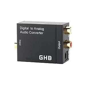 GHB Digital Audiowandler Toslink/SPDIF Konverter Stereo Koaxial zu Analog (Cinch) Audio 2x RCA Konverter R/L Adapter Wandler Encoder