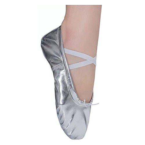 Dreamone Balletschläppchen Ballettschuhe Ballerina Schläppchen Gymnastik Tanz-Schuhe Damen Mädchen Kinder, Silber, 34 EU