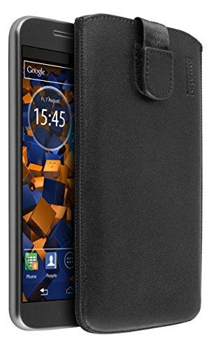 mumbi ECHT Ledertasche für Motorola Moto G4 / G4 Plus Tasche Leder Etui (Lasche mit Rückzugfunktion Ausziehhilfe)