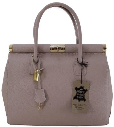 CTM Bag Beige Satchel femme élégante avec poignées et bandoulière Made in Italy véritable 35x28x16cm en cuir