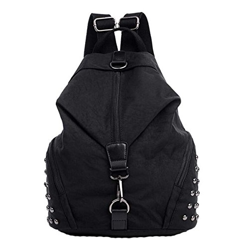 Wasserdichte Nylon Tuch Rucksack Mode Sport Schule Schüler Tasche Nieten Black