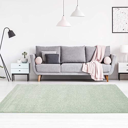 carpet city Teppich Einfarbig Uni Flachfor Soft & Shiny in Grün für Wohnzimmer; Größe: 140x200 cm -