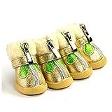 Feidaeu Haustier Schuhe 4 Stücke Reißverschluss Solidr Plüsch Stiefel Warme Wasserdichte Rutschfeste Helle Farben Teddy Niedlich Und Intelligente, Warme, Bequeme Schuhe