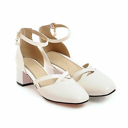 Mee Shoes Damen vierkant ankle strap Schnalle Sandalen Weiß