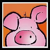 Bild mit Rahmen Jean Paul Courtsey - Pig - Holz schwarz, 30 x 30cm - Premiumqualität - Kinderwelten, Comic, Schwein, Kinderzimmer, Kindergarten, Hort - MADE IN GERMANY - ART-GALERIE-SHOPde