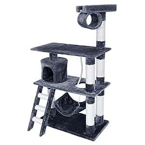 SONGMICS Arbre à chat stable Avec hamac et échelle Hauteur de 140 cm Colonne renforcée d'épaisseur de 8,6 cm PCT63G