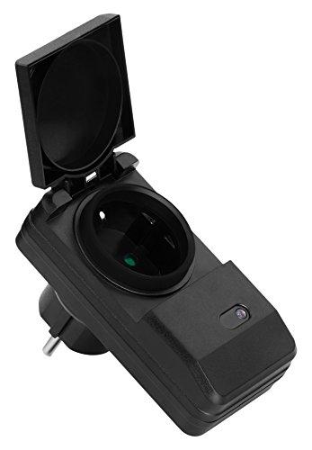 MANAX MX-RCS260 Funksteckdosen-System Starterset komplett, 4-Kanal (1x Funksteckdose), Außenbereich, spritzwassergeschützt, IP44, schwarz