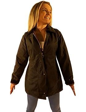Chaqueta de algodón encerado para señora, ajustable, color tostado, rojo, verde o marrón, tallas XS, S, M, L y XL