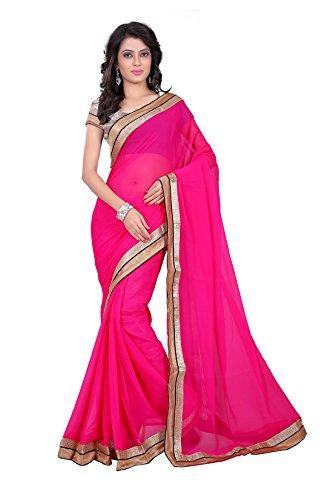 Anshika Lifestyle Pink Chiffon Sarees Jai Ho saree  available at amazon for Rs.745