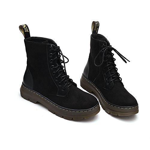 Bottes D'hiver Femme Et Des Chaussures.bottes De Mode De Locomotive Thermique Noir Cachemire