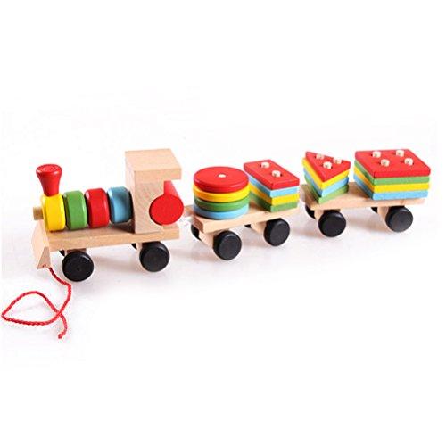 TOYMYTOY Nachziehspielzeug Holzzug Demontage Montage Spielzeug für Laufanfänger Baby Kinder Kleinkind -