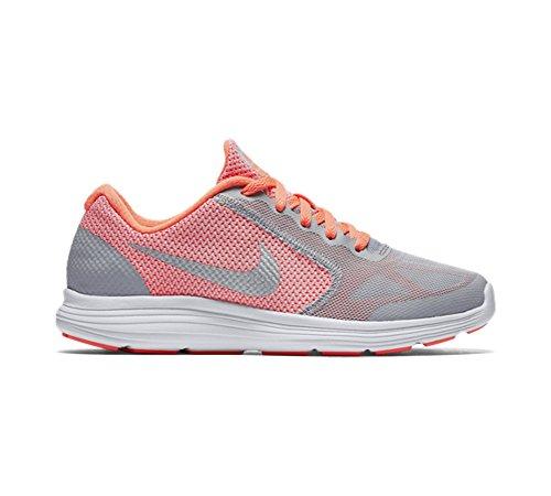 Nike Mädchen Revolution 3 (Gs) Turnschuhe Amarillo / Plateado / Gris (Brght Mango / Mtllc Slvr-Wlf Gry)