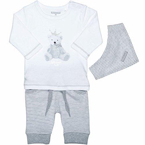 Unisex Baby 3-teiliges Geschenkset   Langarm-Shirt Hose Halstuch   White Grey Größe 62 für Jungen und Mädchen
