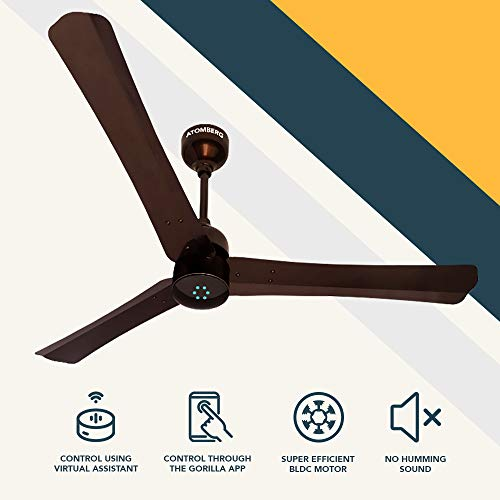 Atomberg Renesa Smart + 1200 mm BLDC Motor with Remote 3 Blade Anti-Dust Ceiling Fan(Earth Brown, Pack of 1)