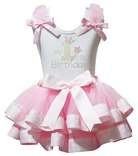 Petitebelle 1st Birthday Dress White Shirt Dot Ribbon Pink Petal Skirt Set Nb-2y (1-2 Jahr) (Ribbon Pink Ware)