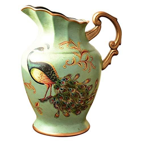 ZFF Vase Vintage Keramik Künstliche Blumen Anzeige Zuhause Wohnzimmer Fernsehschrank Tabelle Mittelstücke Dekoration Handgemacht Verzierungen 31cm
