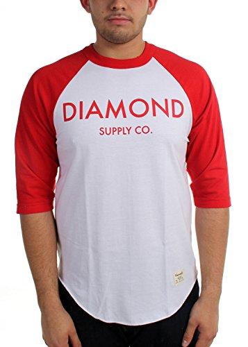 Diamond Supply Co. - Herren-Diamond Classic Raglan White/Red