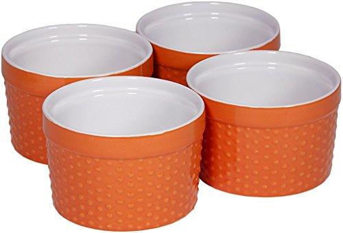 Palais Geschirr Auflaufförmchen Collection Porzellan Soufle Gerichte 6 Oz - Set of 4 Orange - Dots Finish Orange Ramekin
