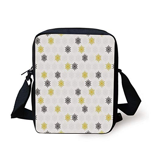 CBBBB Grey and Yellow,Moroccan Style Modern Sun Beam Flowers with Rounds Dots Image,Black and Light Grey Print Kids Crossbody Messenger Bag Purse -
